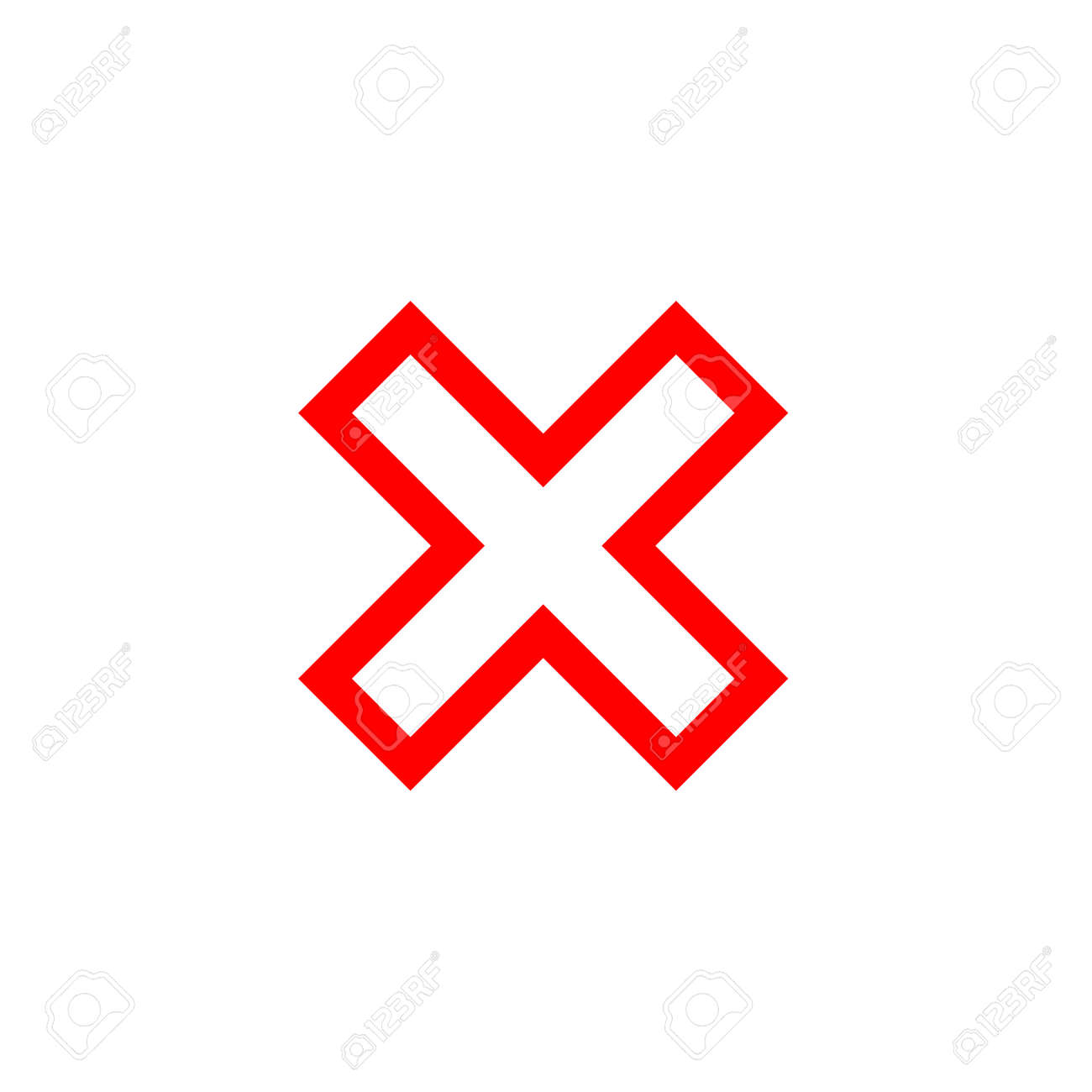 Cross sign element  Red X icon isolated on white background