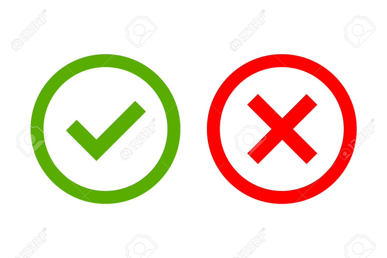 Tick and cross signs green checkmark ok and red x icons isolated tick and cross signs green checkmark ok and red x icons isolated on white background simple marks graphic design circle shape symbols yes and no button buycottarizona Gallery