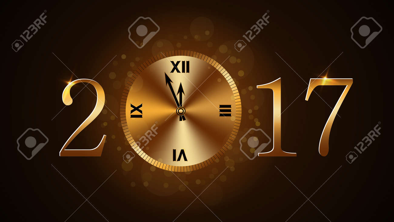 happy new year background with magic gold clock countdown golden numbers 2017 christmas night