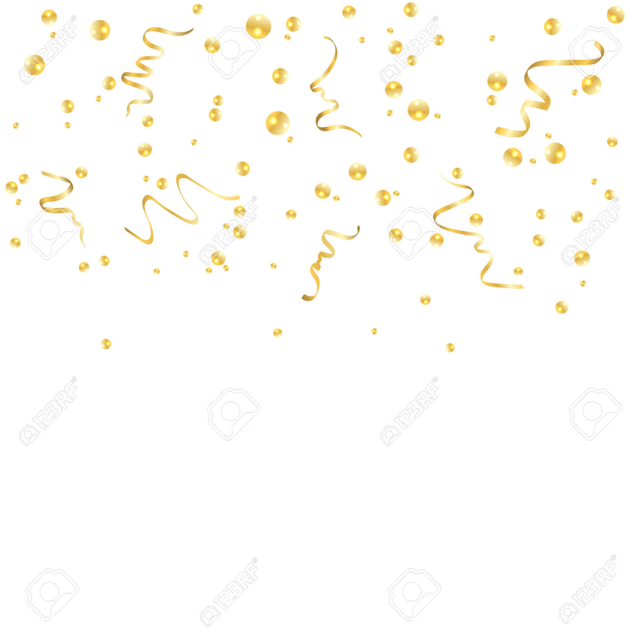 gold confetti celebration isolated on white background falling