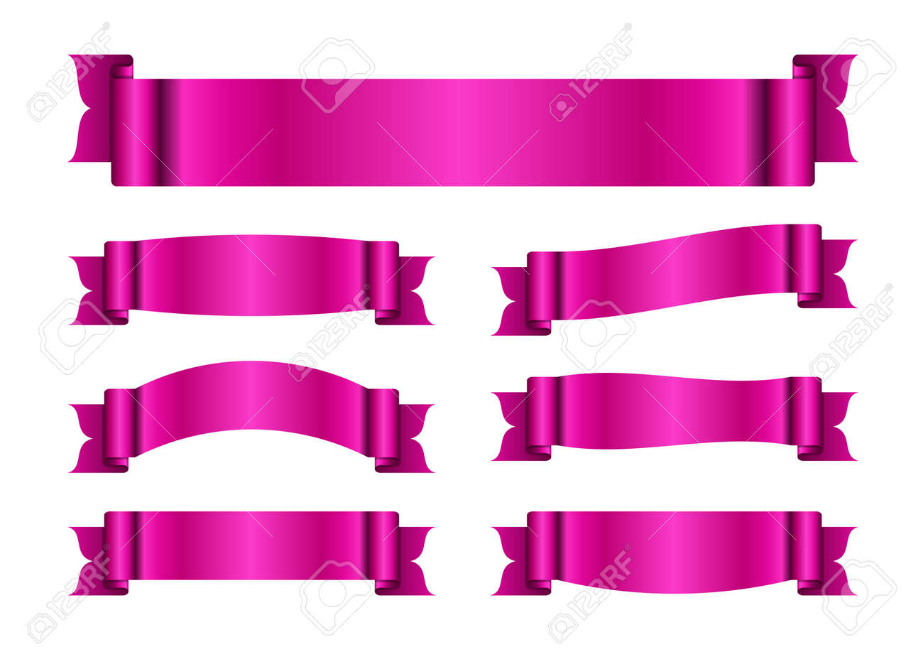 pink ribbons set. satin blank banners collection. design label
