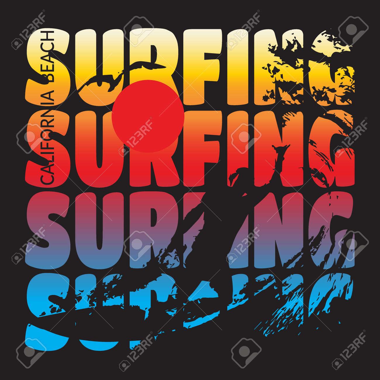 California Beach Typography Graphics T Shirt Printing Design For Sportswear Apparel CA Original