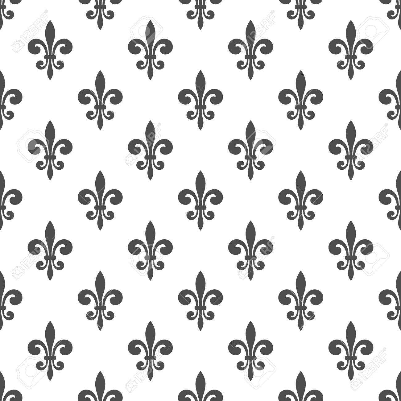 Seamless Pattern With Fleur De Lis On A White Background Graphics