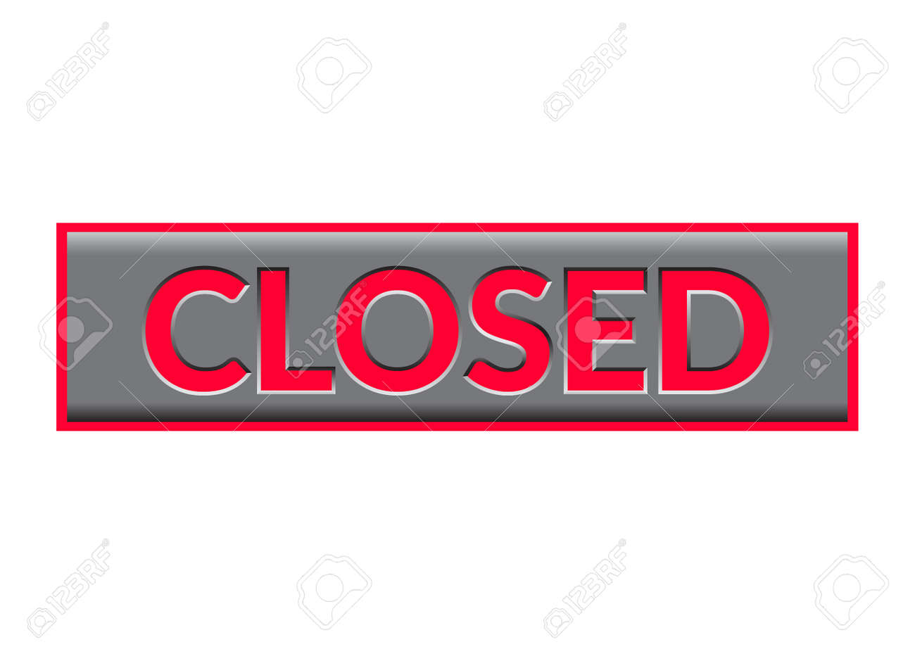 Closed Sign Neon Bright Red Print Symbol For Store Shop Cafe