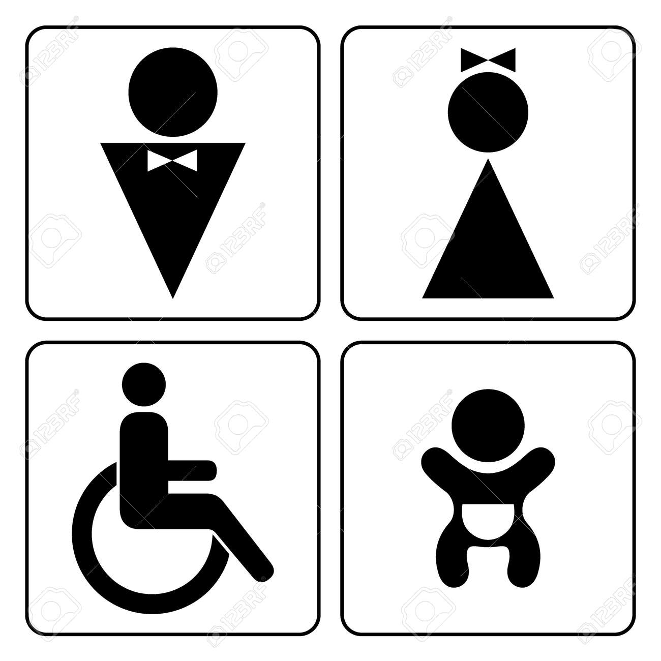 WC Signs Set Man Woman Mother With Baby And Handicapped