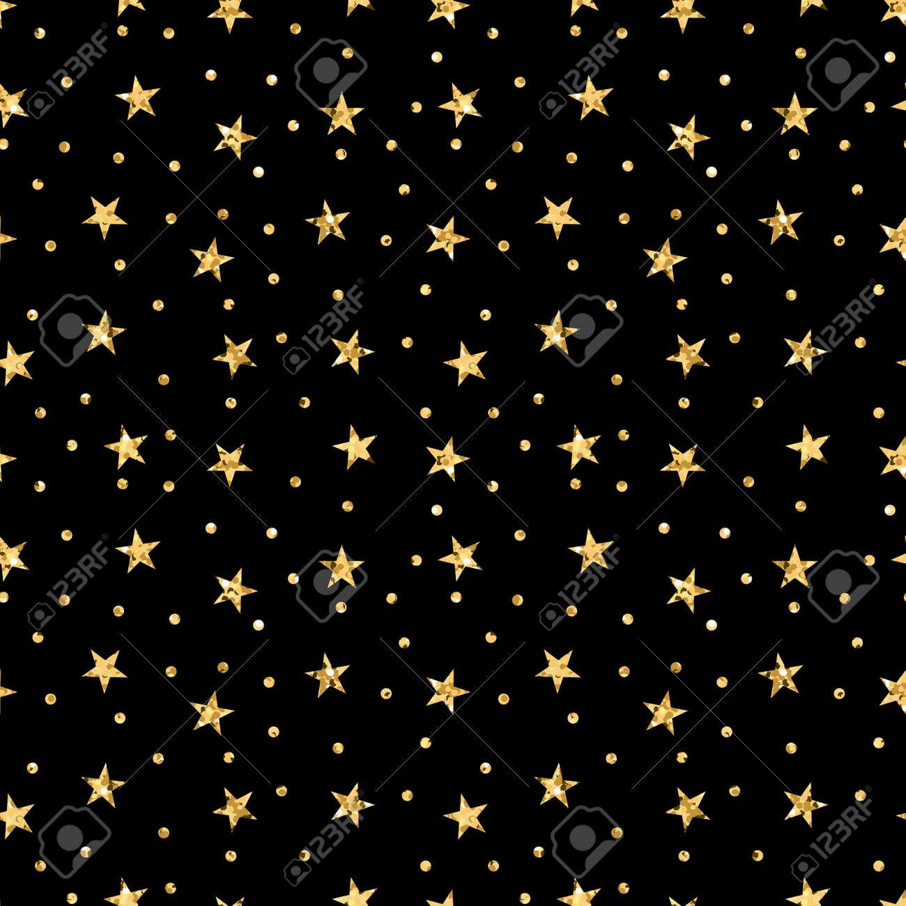 星シームレスな水玉柄ゴールドと黒のレトロな背景 壁紙 クリスマス