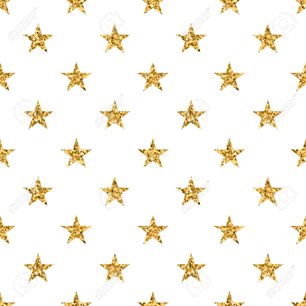Stars Seamless Pattern Gold And White Retro Background Abstract