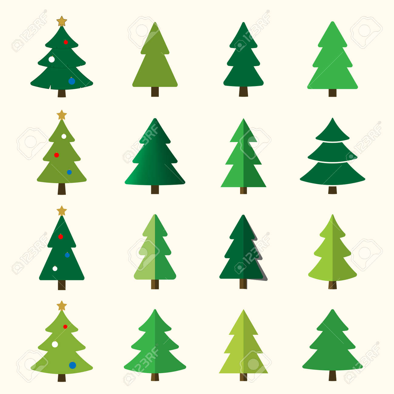 Christmas Tree Illustration.Christmas Tree Cartoon Icons Set Green Silhouette Decoration