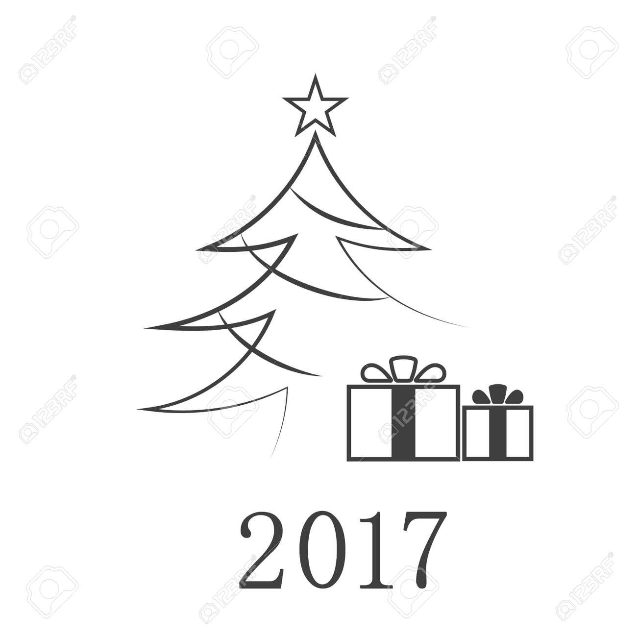 Carte De Sapin De Noel Avec Cadeau Numero 2017 Icone De Dessin