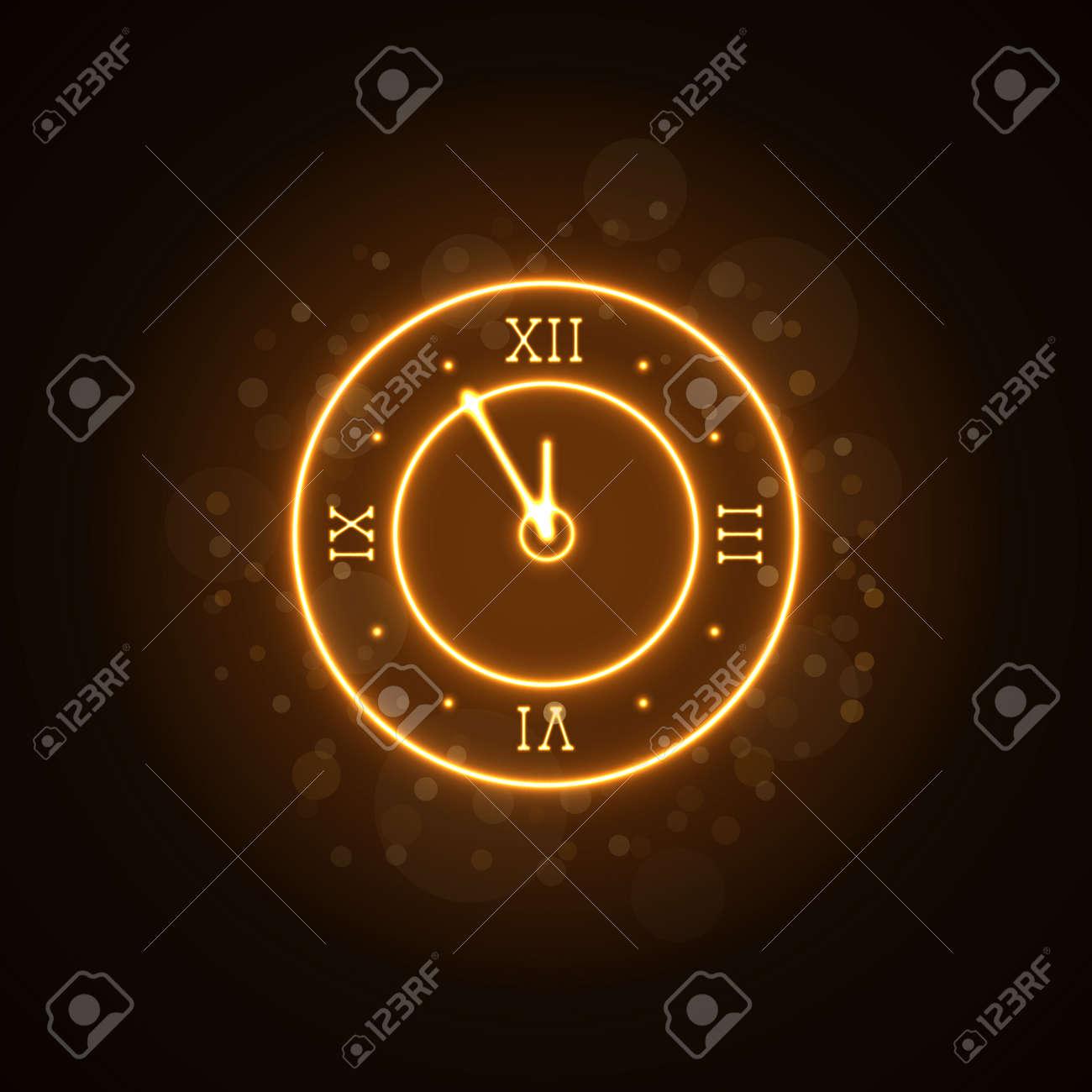 Frohes Neues Jahr Hintergrund. Magic Gold Uhr Countdown 5 Minuten ...