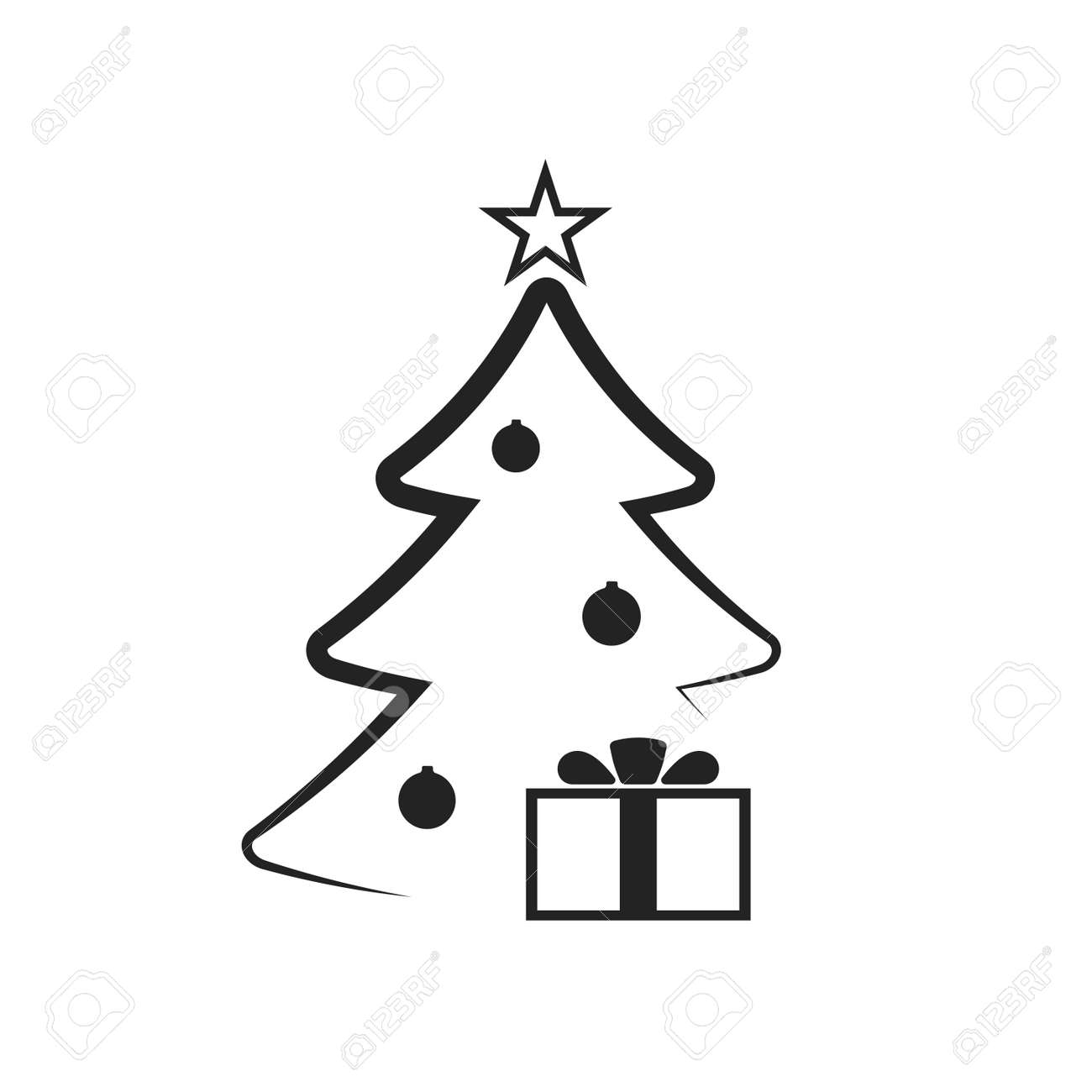 Christmas Tree With Balls Star Gift Cartoon Icon Black Silhouette Decoration Sign