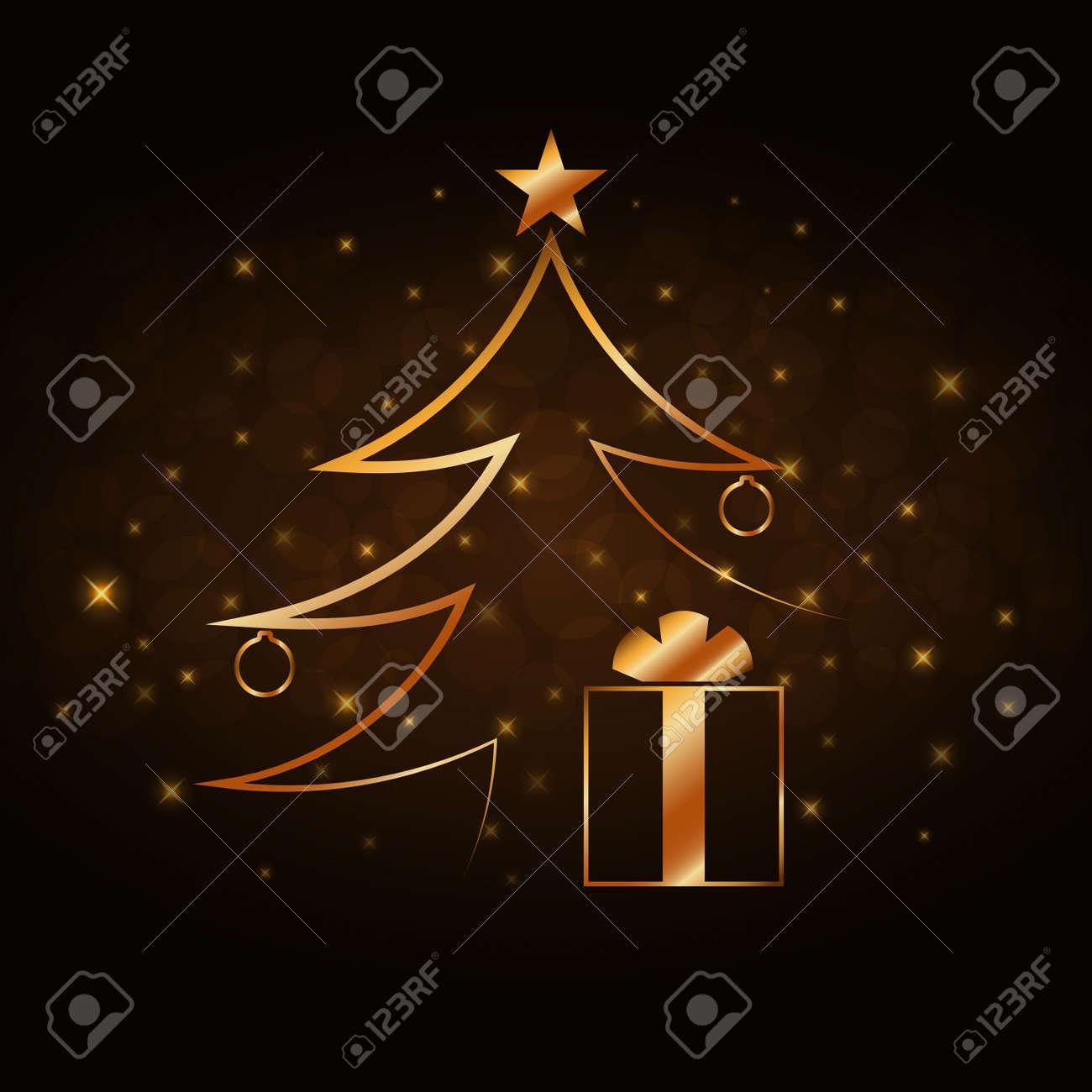 Feierhintergrund Der Frohen Weihnachten, Goldweihnachtsbaum ...
