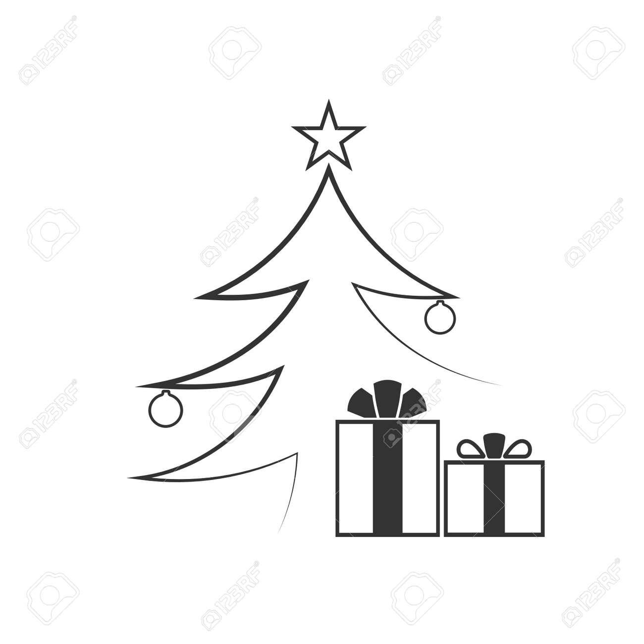 Christmas Tree With Balls Star Gift Cartoon Icon Black