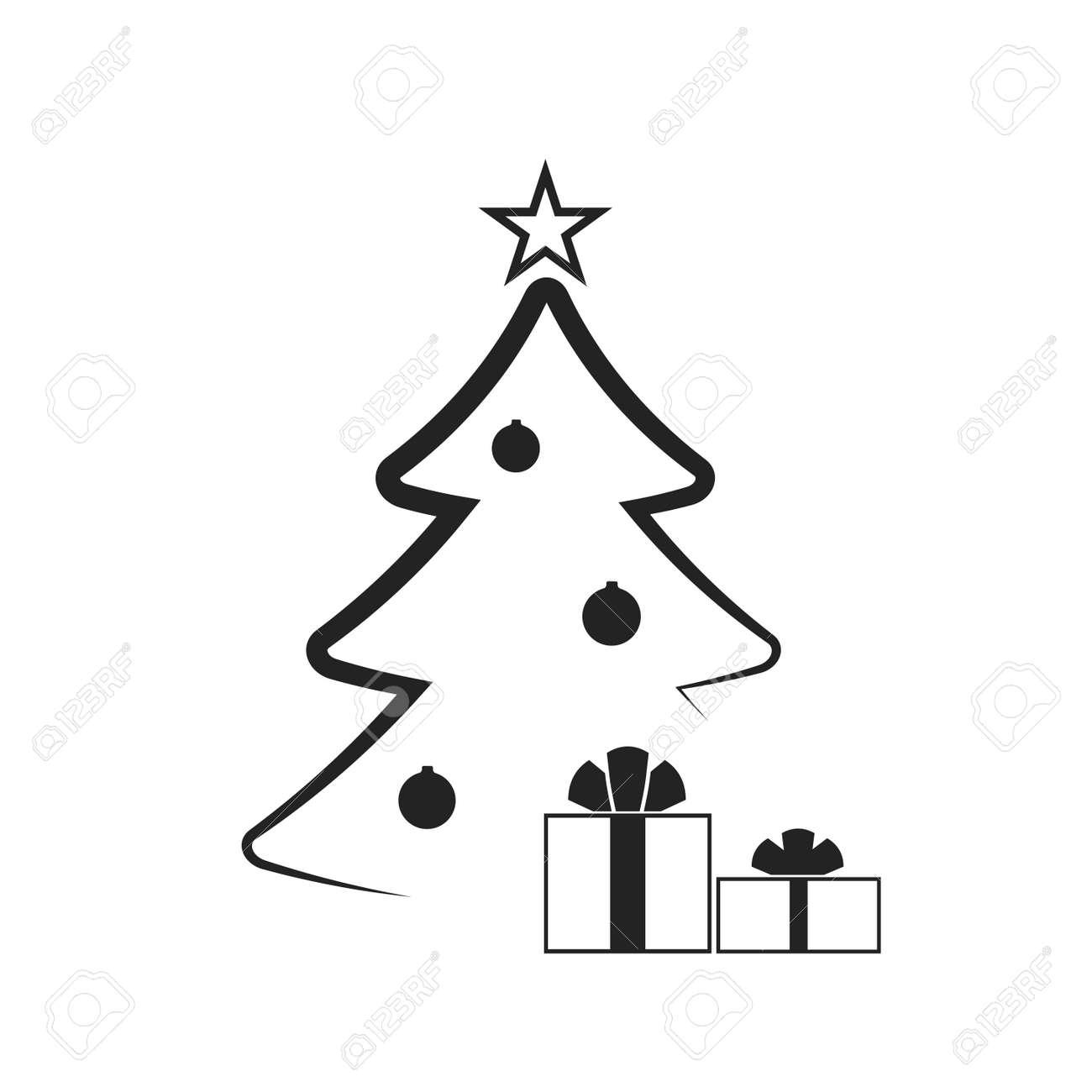 Christmas Tree With Balls Star Gift Cartoon Icon Black Silhouette