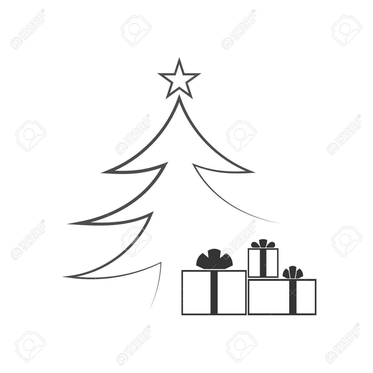Christmas Images Cartoon Black And White.Christmas Tree With Star Gift Cartoon Icon Black Silhouette