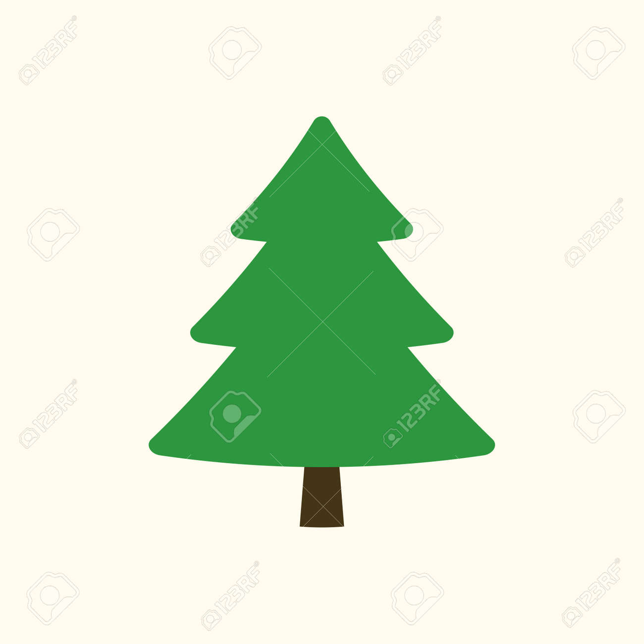 christmas tree sign simple cartoon icon green template silhouette isolated on white background