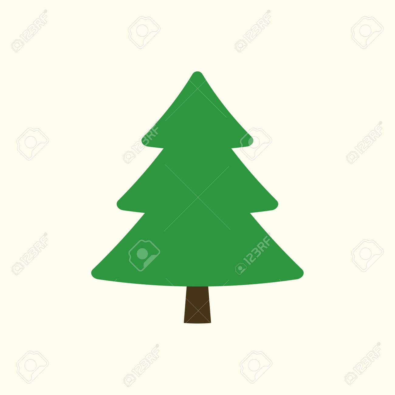 Cartoon Christmas Tree.Christmas Tree Sign Simple Cartoon Icon Green Template Silhouette
