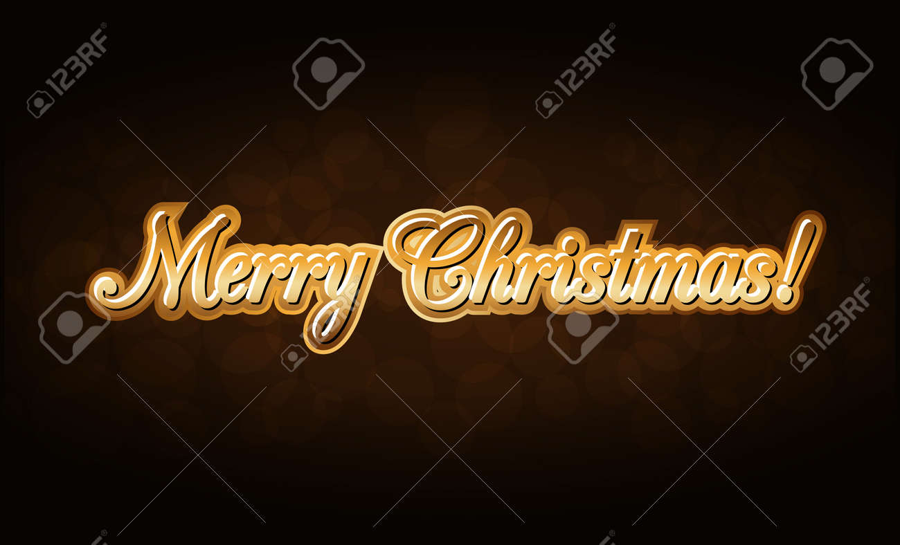 Merry Christmas Gold Text Holiday Background Golden Type Decorative Design For Card Banner