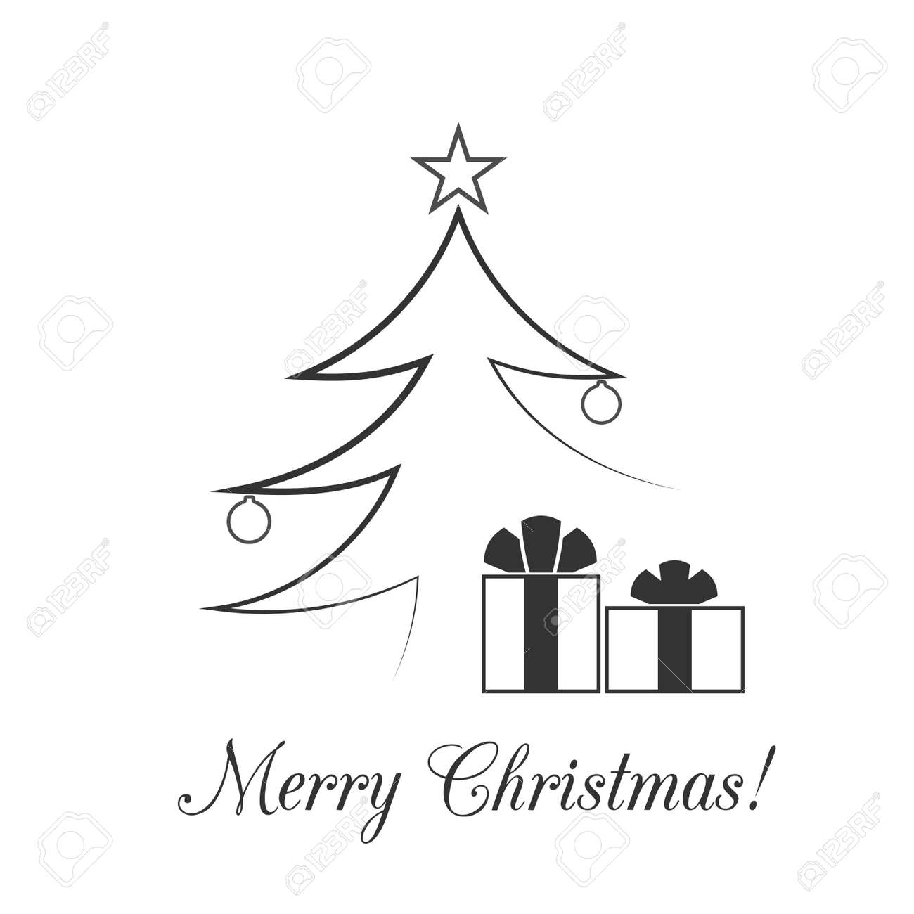 Christmas Tree Card Balls Star Gift Cartoon Icon Black Silhouette
