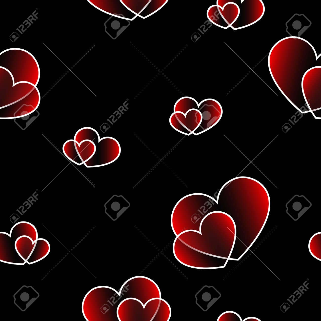 Cute Seamless Pattern On Black Background Fashion Graphics Design Stylish Valentine Day Print Concept For Fabric Wallpaper Or Wedding Card