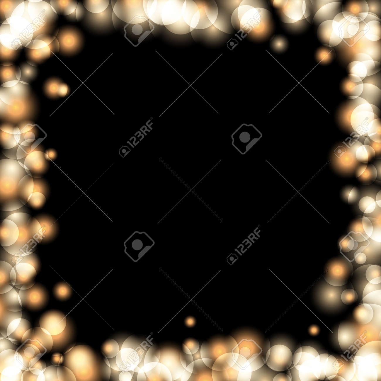 gold sparkle frame abstract black background light golden border glitter merry christmas card
