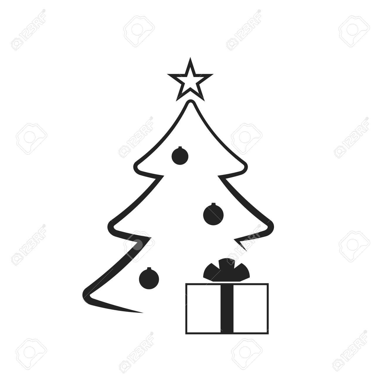 Christmas Tree With Balls Star Gift Cartoon Icon Black Silhouette Royalty Free Cliparts Vectors And Stock Illustration Image 66279869 Free set of vector cartoon black and white cats on pinky background with hearts and different floral decoration. christmas tree with balls star gift cartoon icon black silhouette