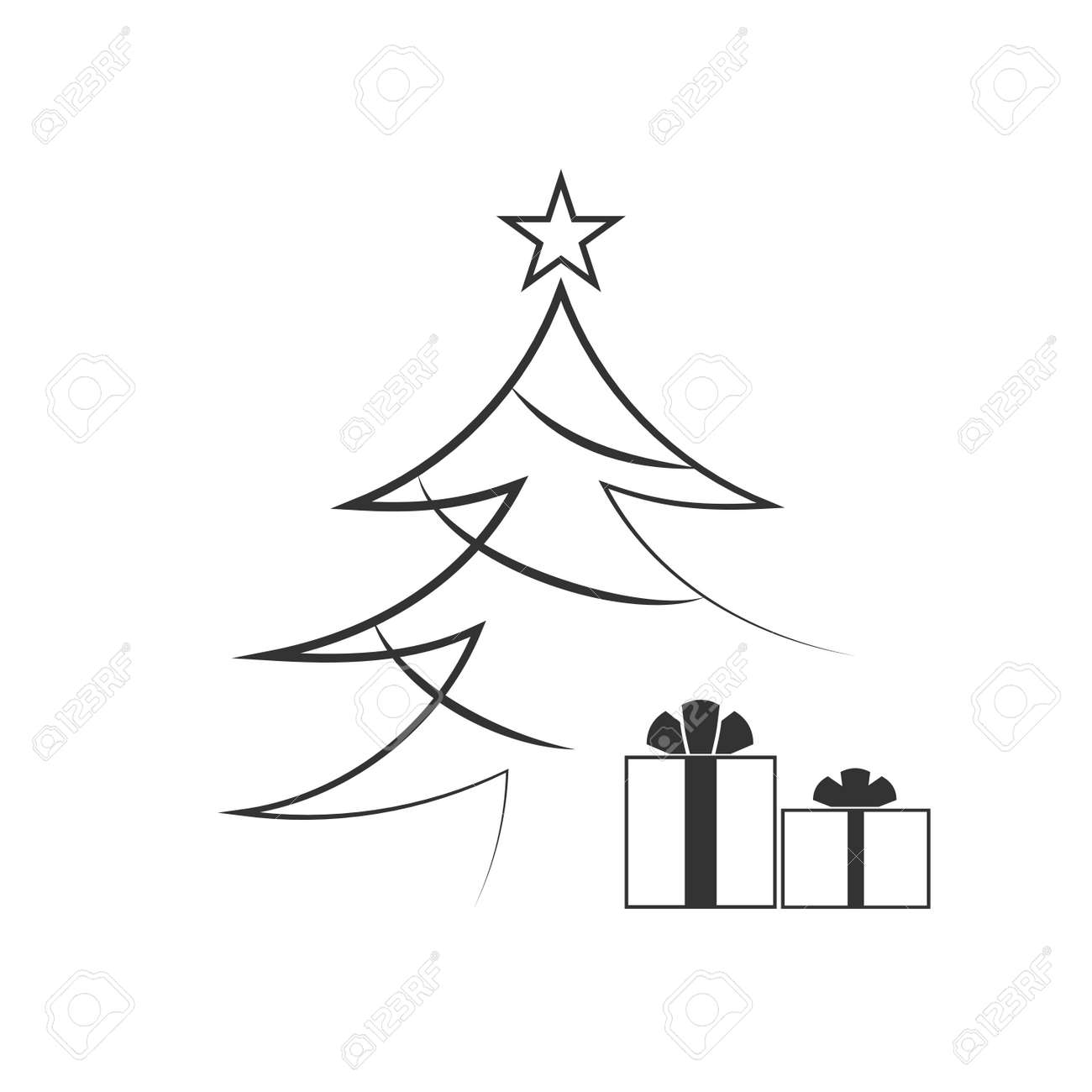 Christmas Tree With Star Gift Cartoon Icon Black Silhouette Decoration Sign Isolated