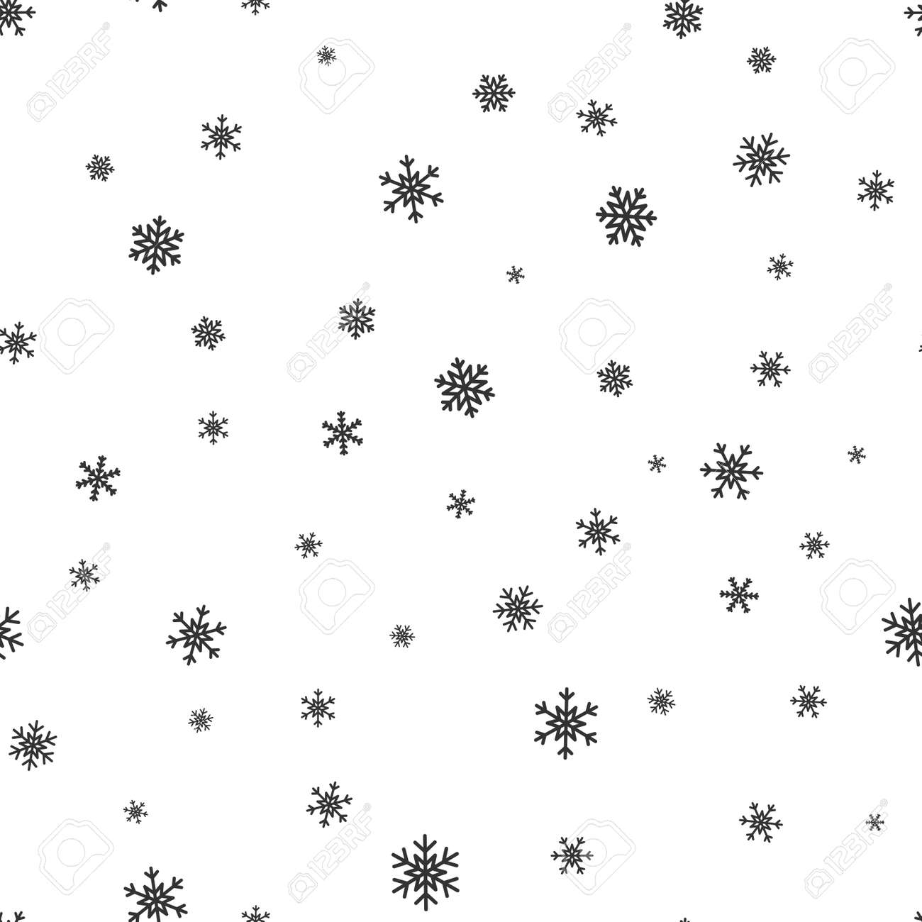 Snowflake Simple Seamless Pattern. Black Snow On White Background ... for Snow Background Clipart Black And White  35fsj