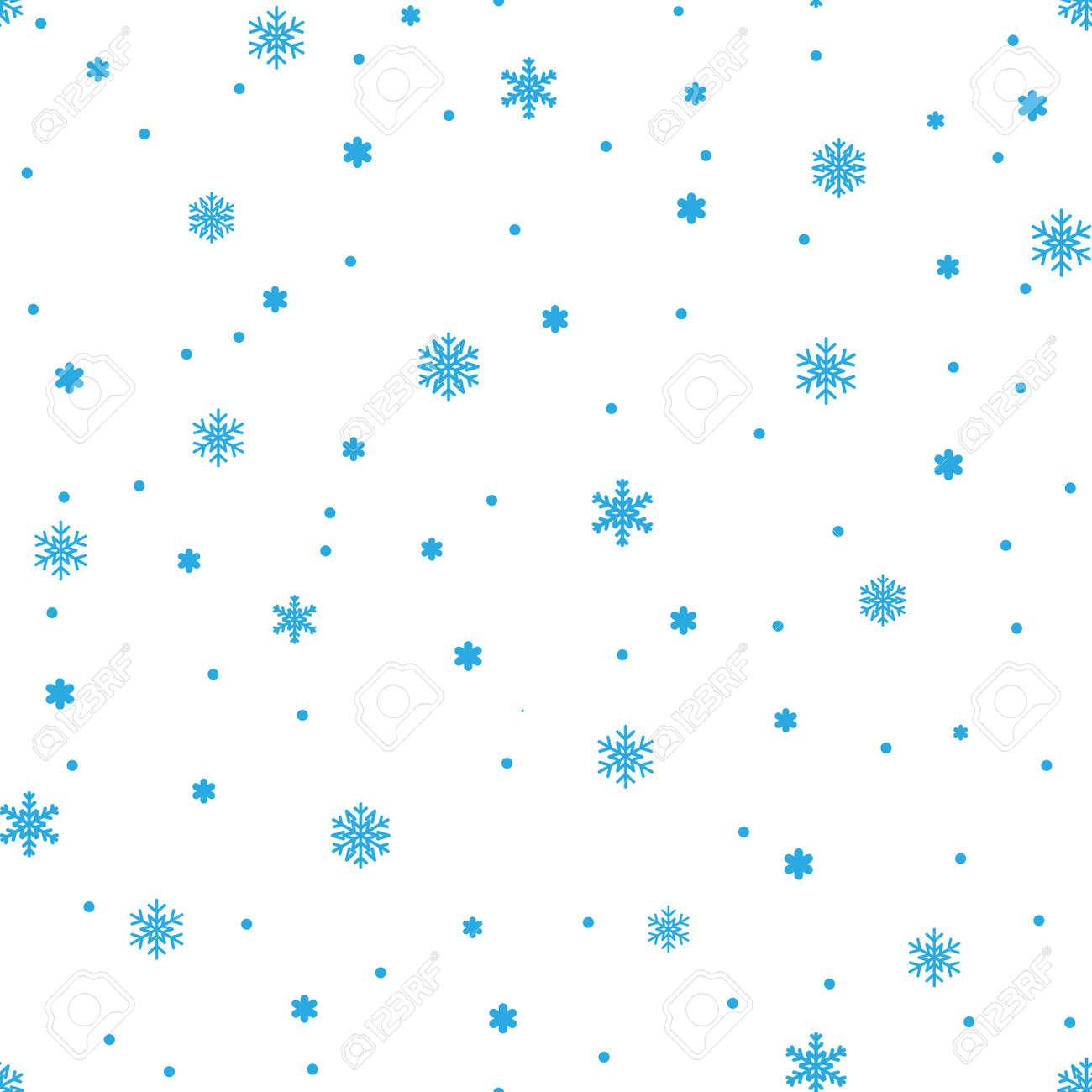 Snowflake Simple Seamless Pattern Blue Snow On White Background