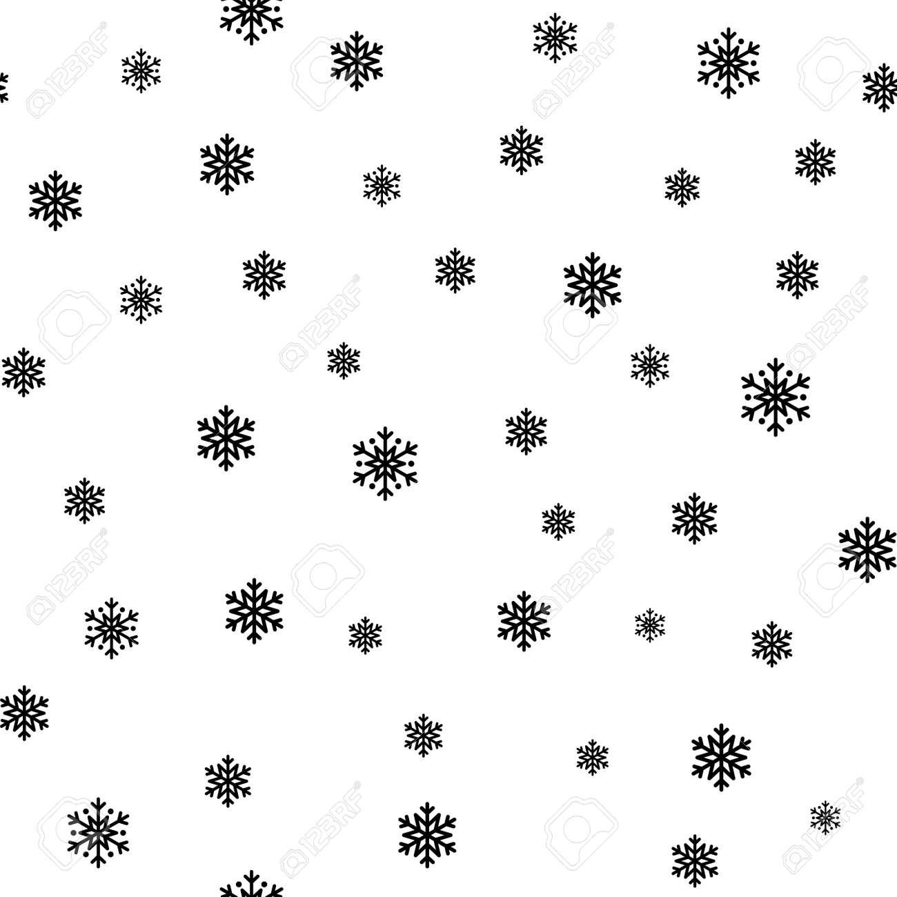 Snowflake Simple Seamless Pattern Black Snow On White Background