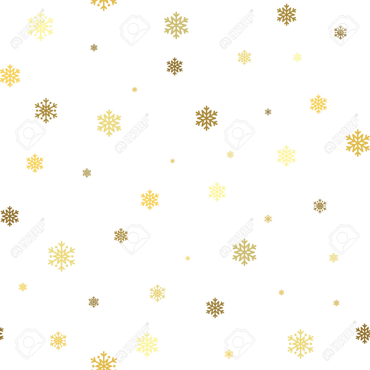 Christmas Snowflake Seamless Pattern Gold Snow White Background Golden Abstract Wallpaper Wrapping Texture