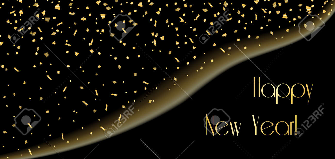 happy new year background gold abstract template confetti for card greeting xmas celebrate