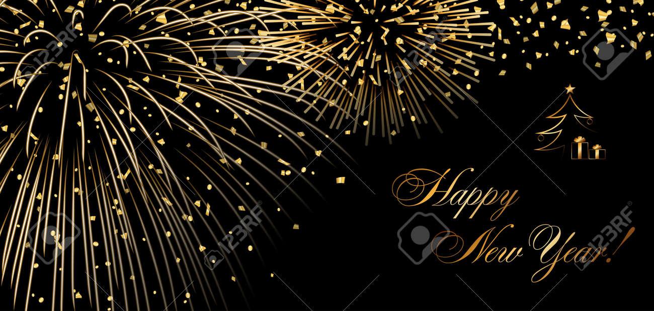 Frohes Neues Jahr Urlaub Hintergrund. Gold Abstrakte Feuerwerk Für ...