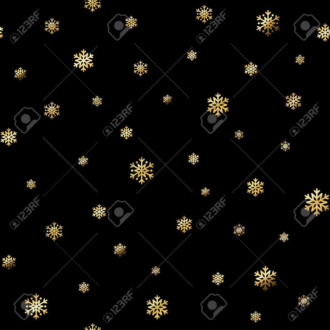 クリスマス雪の結晶のシームレスなパターン 金雪黒背景 黄金の抽象的な壁紙 テクスチャをラップします 冬 メリー クリスマスの休日 新年あけましておめでとうございますお祝いをシンボルします のイラスト素材 ベクタ Image 66902928