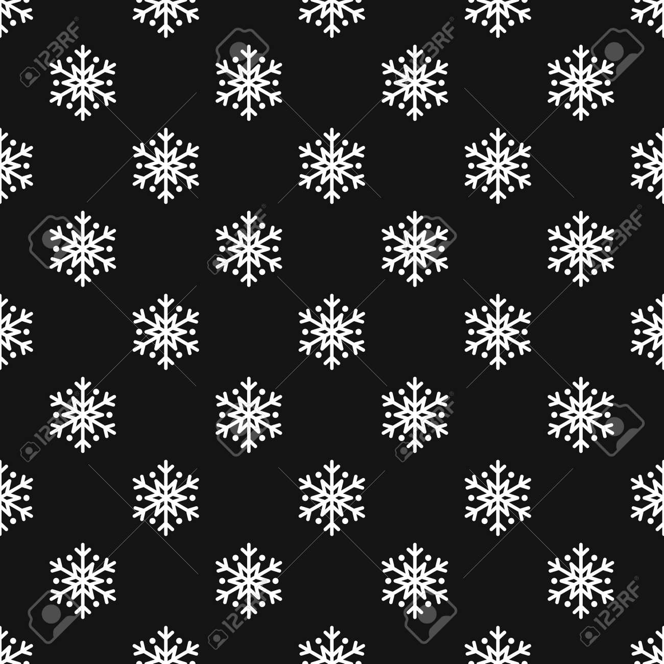 Snowflake Simple Seamless Pattern White Snow On Black Background Royalty Free Cliparts Vectors And Stock Illustration Image 66902952