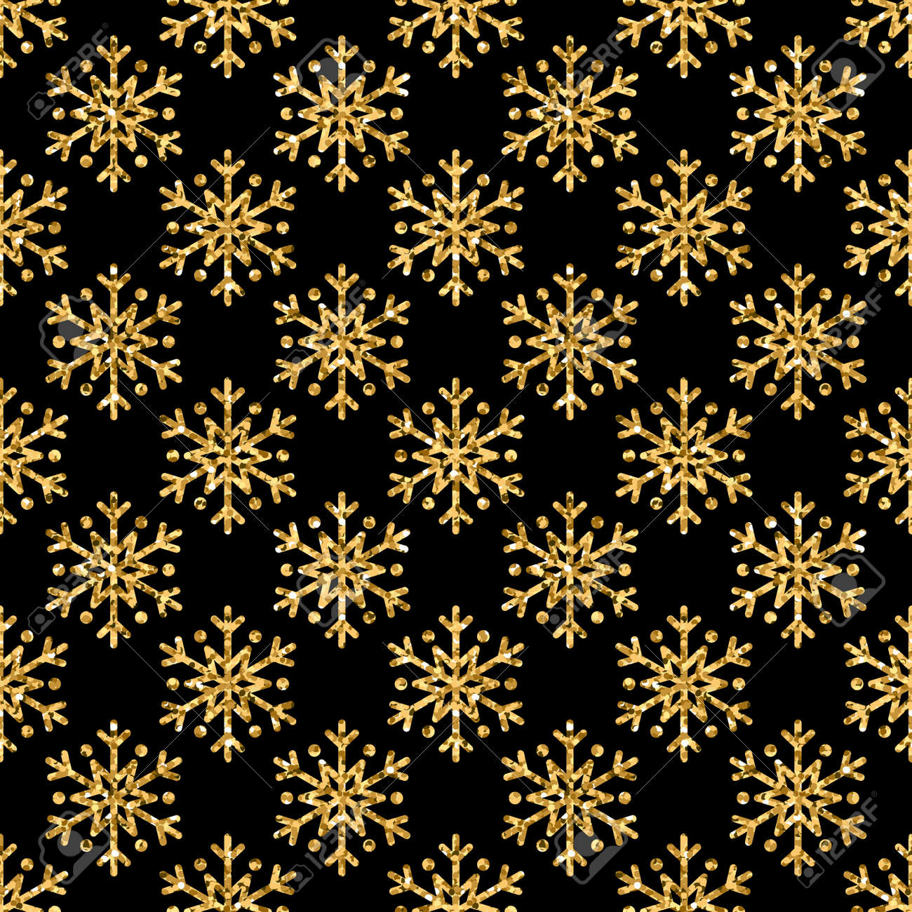 Christmas Snowflake Seamless Pattern Gold Snow Black Background Golden Abstract Shine Wallpaper Wrapping