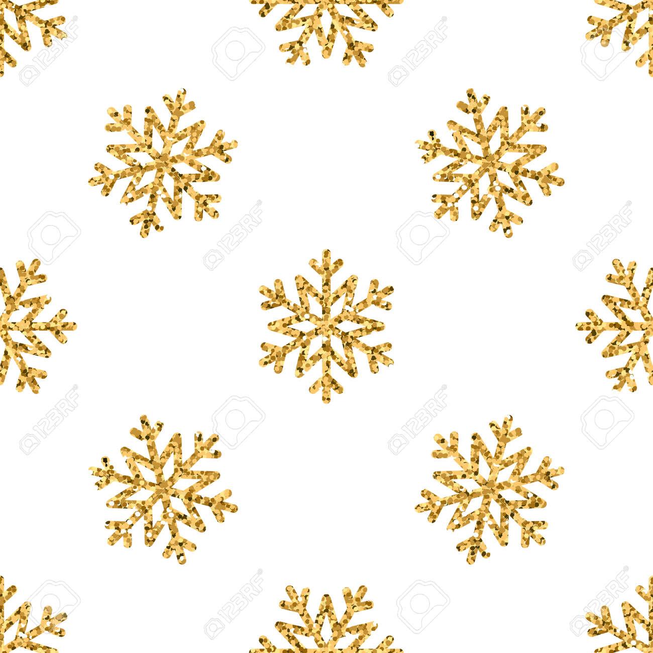 Weihnachten Schneeflocke Nahtlose Muster. Gold-Schnee Weißen ...