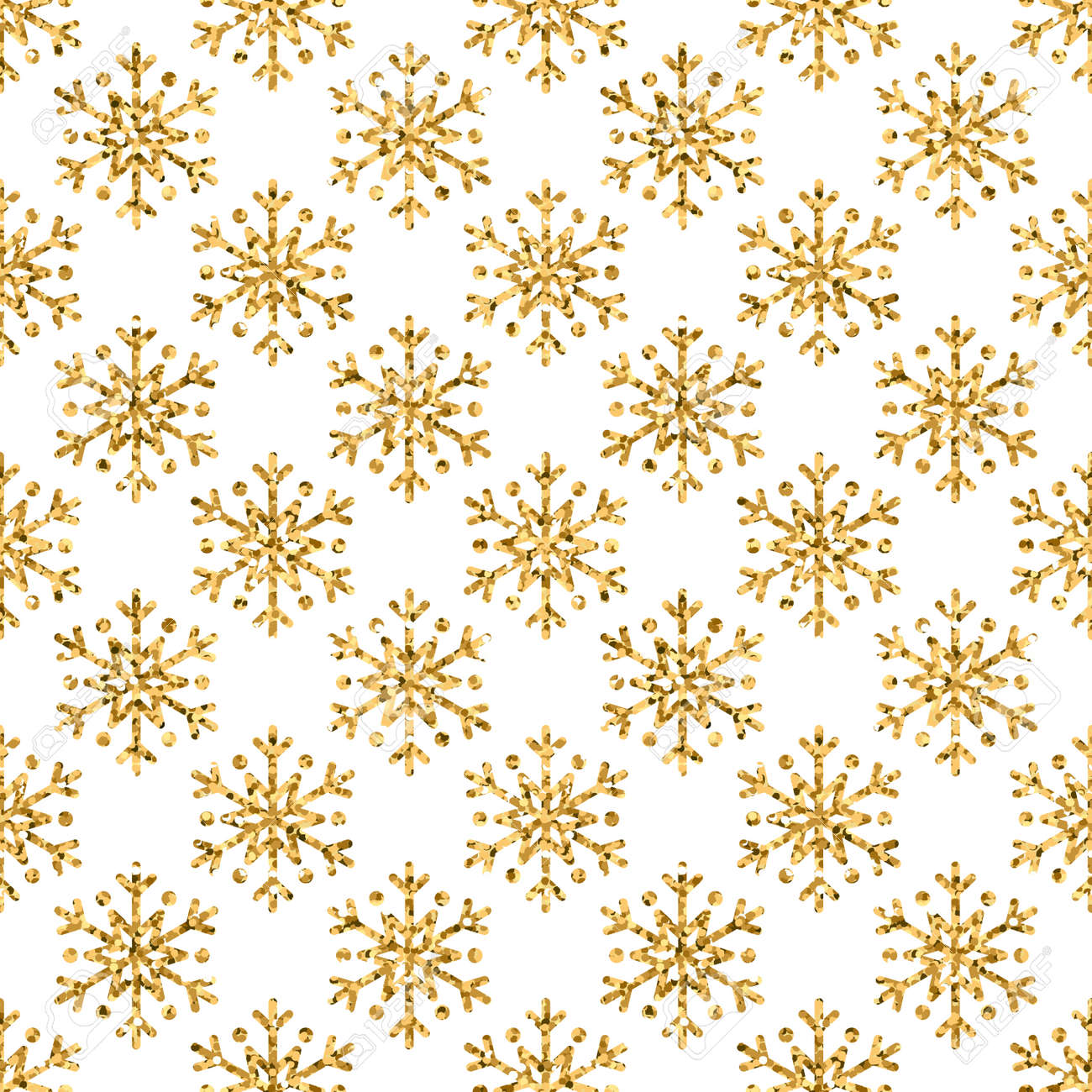 Christmas Snowflake Seamless Pattern Gold Snow White Background Golden Abstract Shine Wallpaper Wrapping