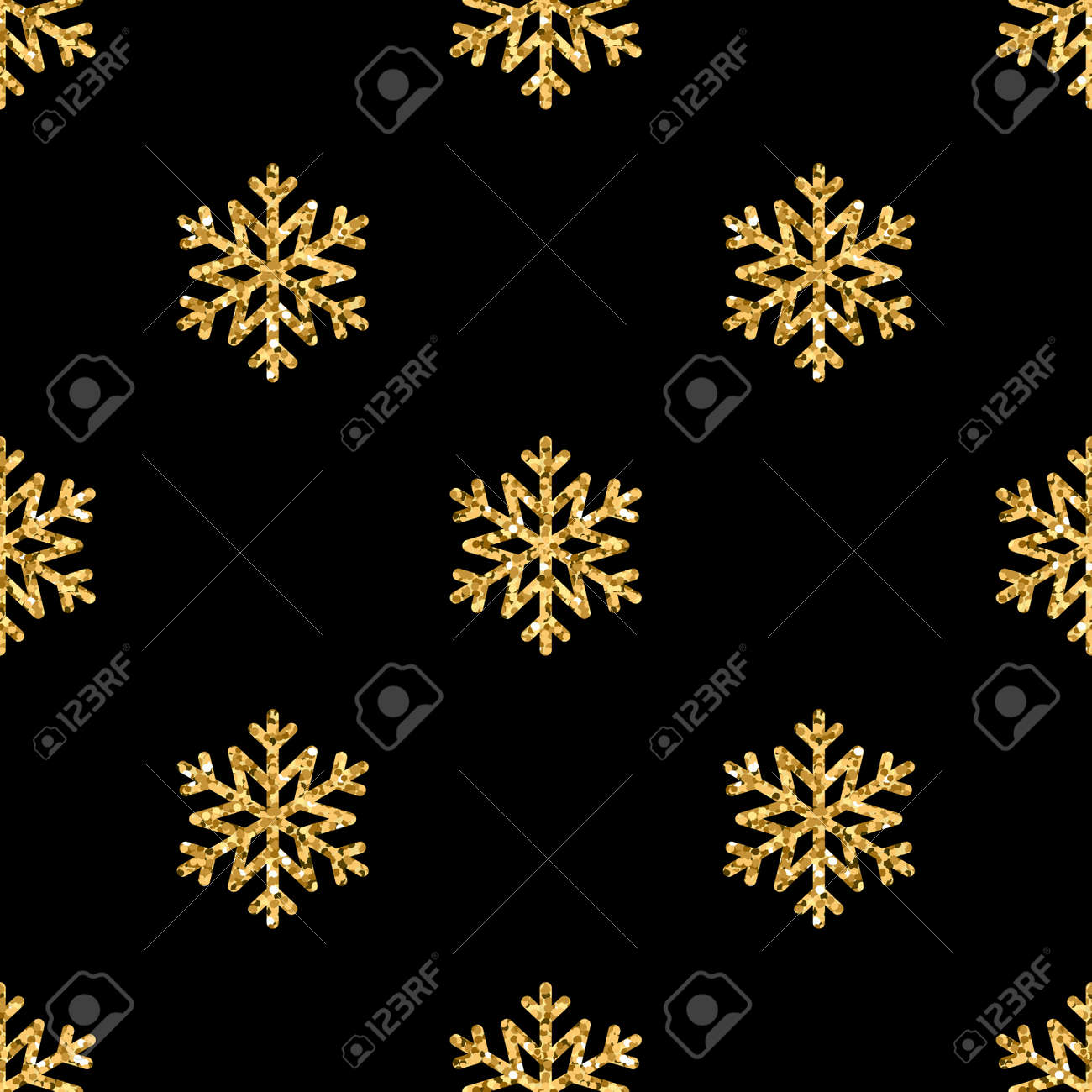 Christmas Snowflake Seamless Pattern Gold Snow Black Background