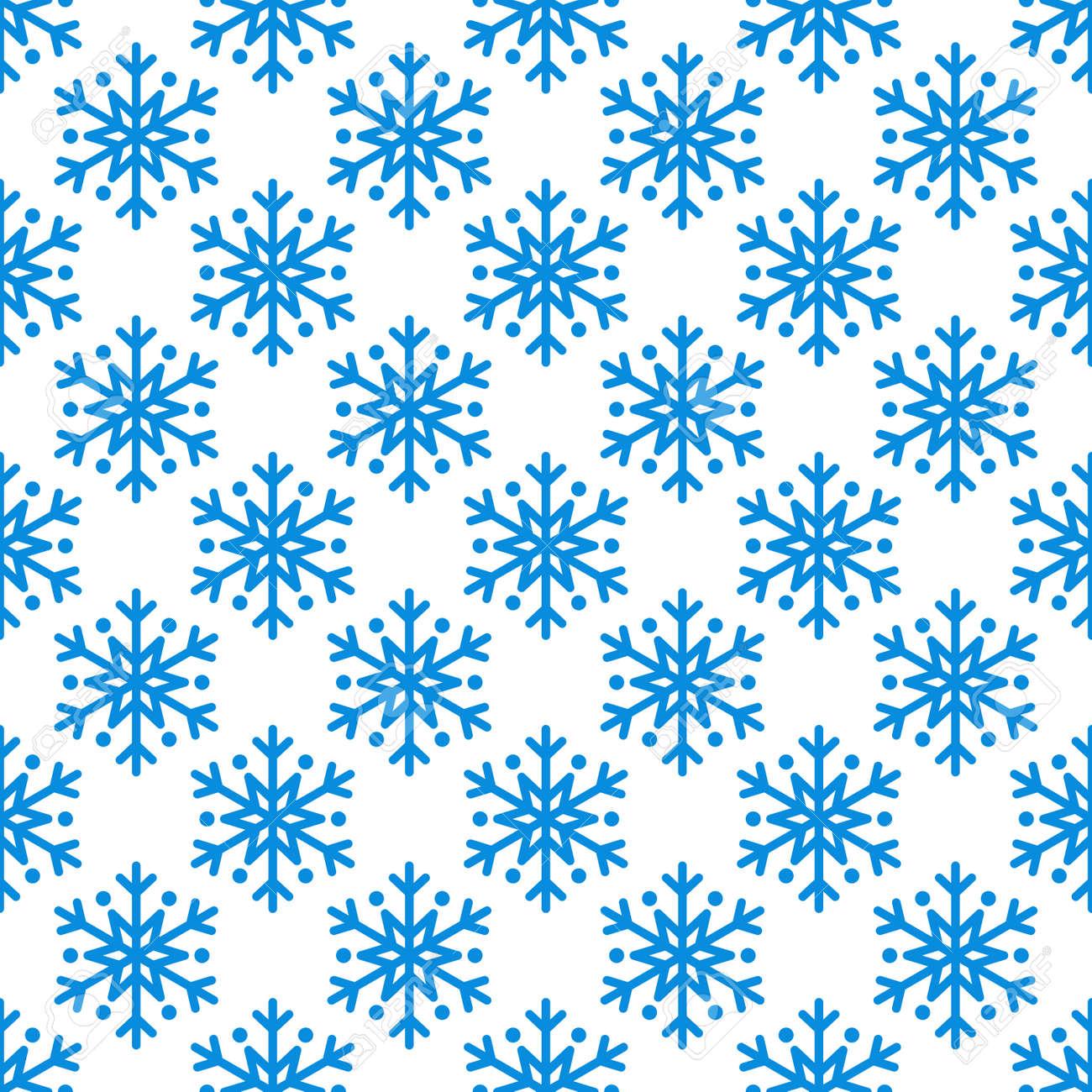 Einfaches Nahtloses Muster Der Schneeflocke. Blauer Schnee Auf ...