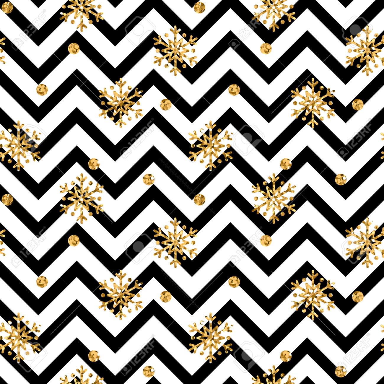 Weihnachten Goldschneeflocke Nahtlose Muster. Goldene Glitter ...