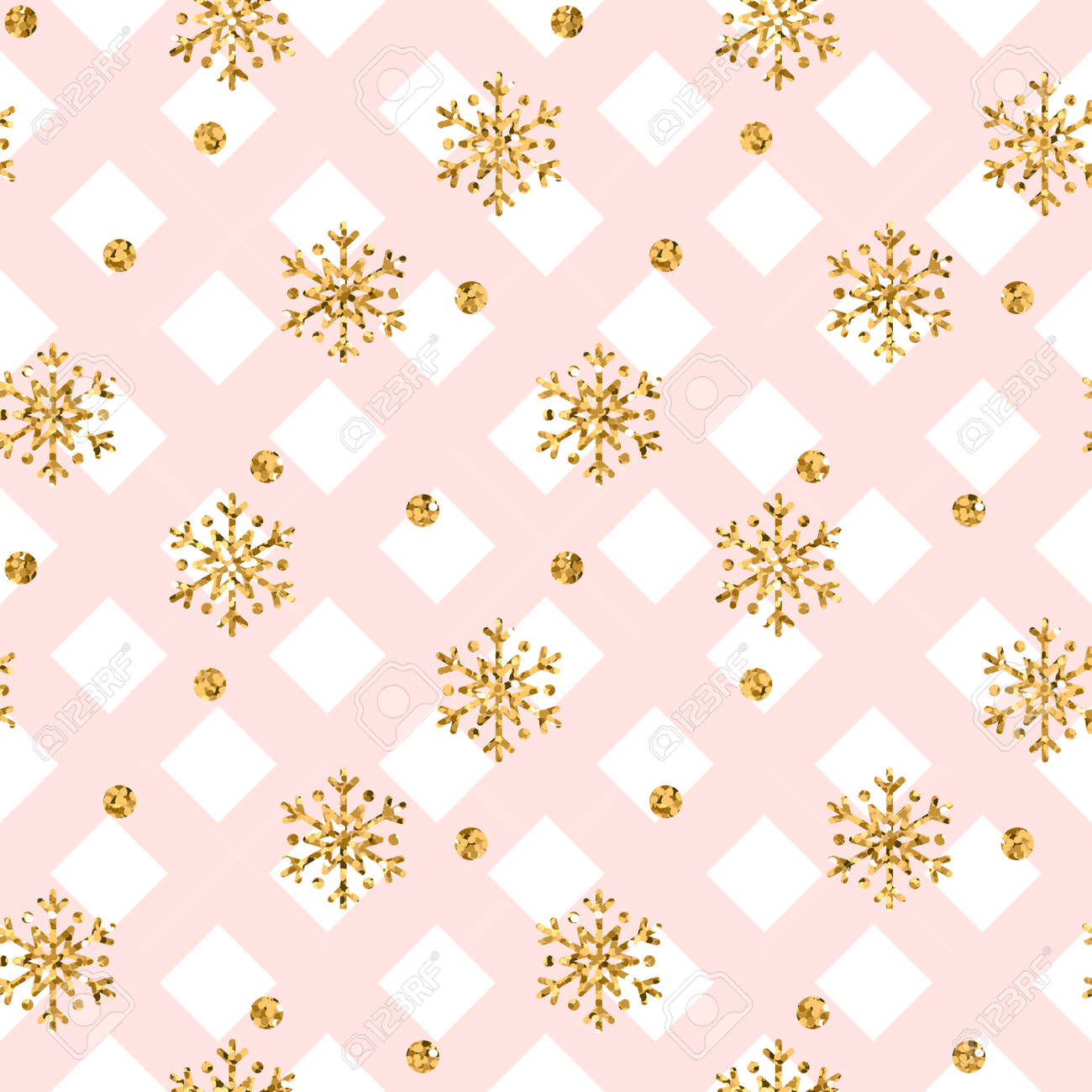Christmas Gold Snowflake Seamless Pattern Golden Snowflakes On Pink And White Rhombus Background Winter