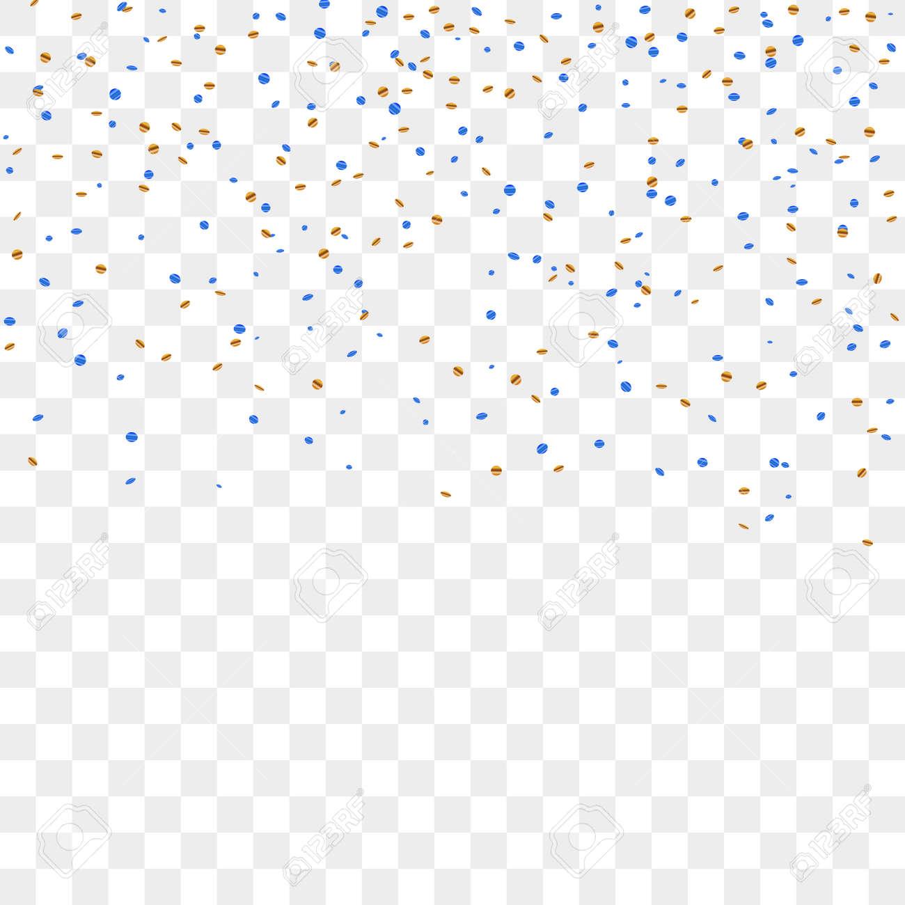 Gouden Blauwe Confetti Viering Geisoleerd Op Transparante
