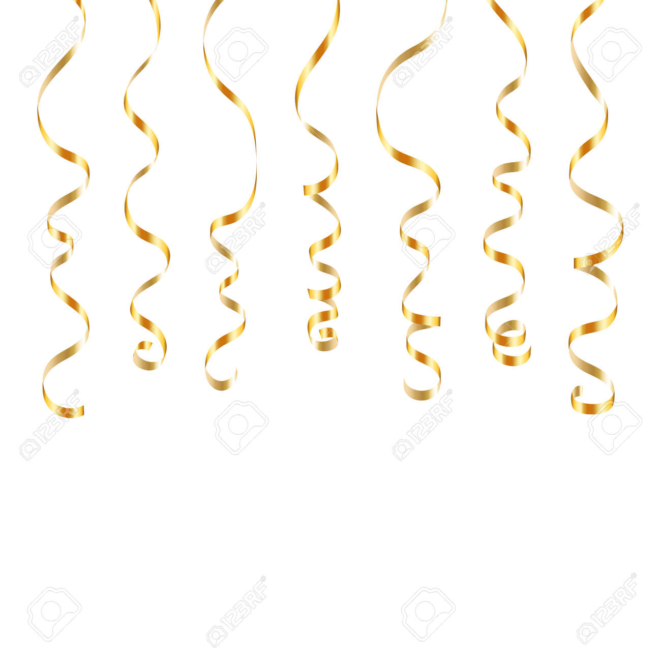 golden serpentine on transparent background colorful streamers design decoration party