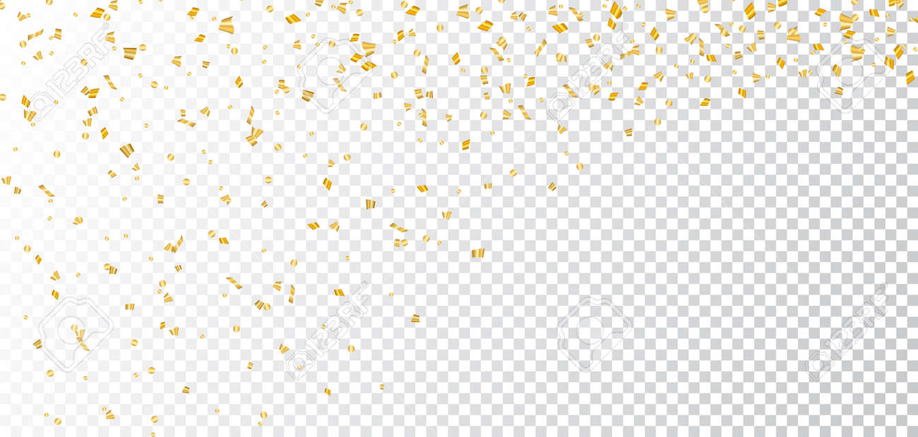 Confetti background vector golden confetti background - Vector Illustration Gold Bright Confetti On White Transparent Christmas Background Golden Decoration Glitter Abstract Design Of Happy