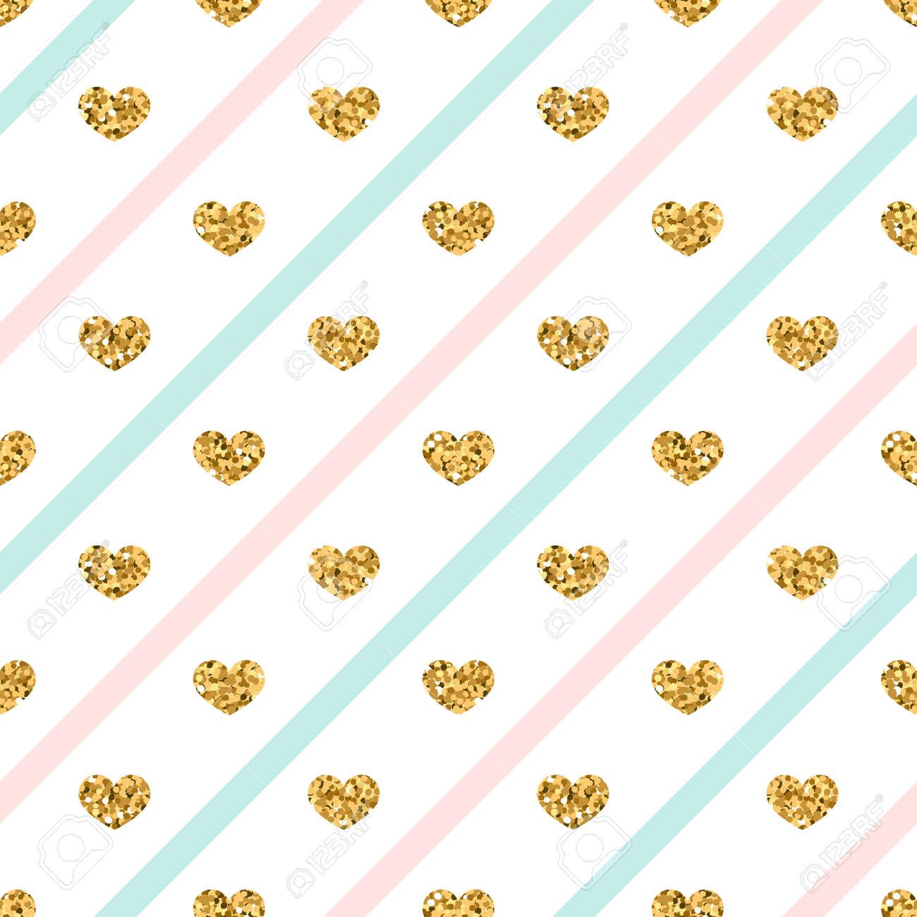 Golden Glitter Love Confetti Hearts On White Blue Pink Line Background