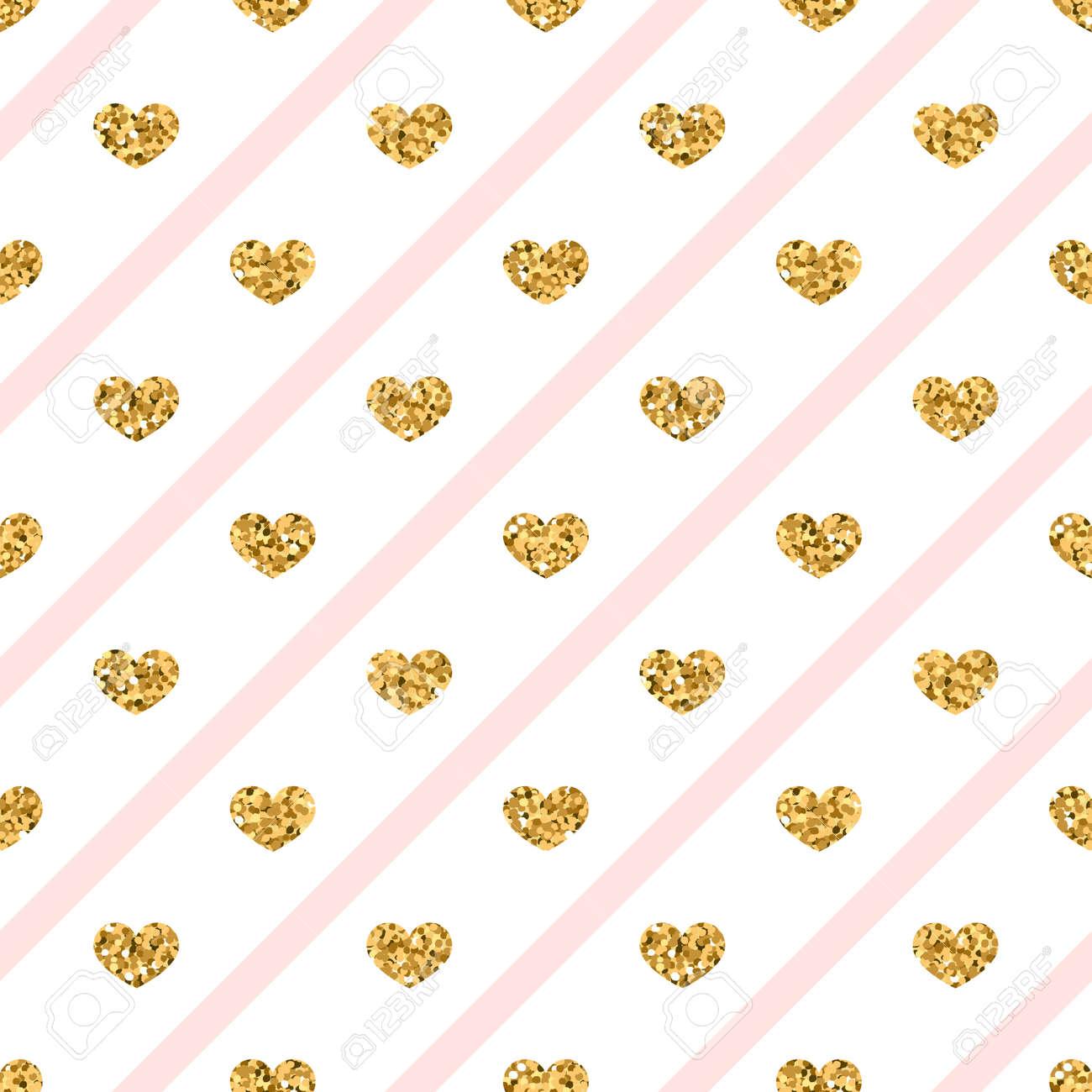 Modele Sans Couture Coeur Or C Urs De Confettis D Amour Paillettes