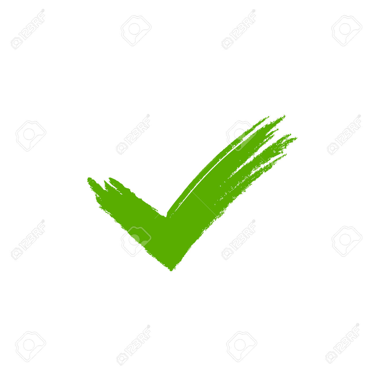 Tick sign element. Green grunge checkmark icon, isolated on white background. Mark graphic design. OK button for vote, decision, web. Symbol of correct, check, approved. Vector illustration - 70806756