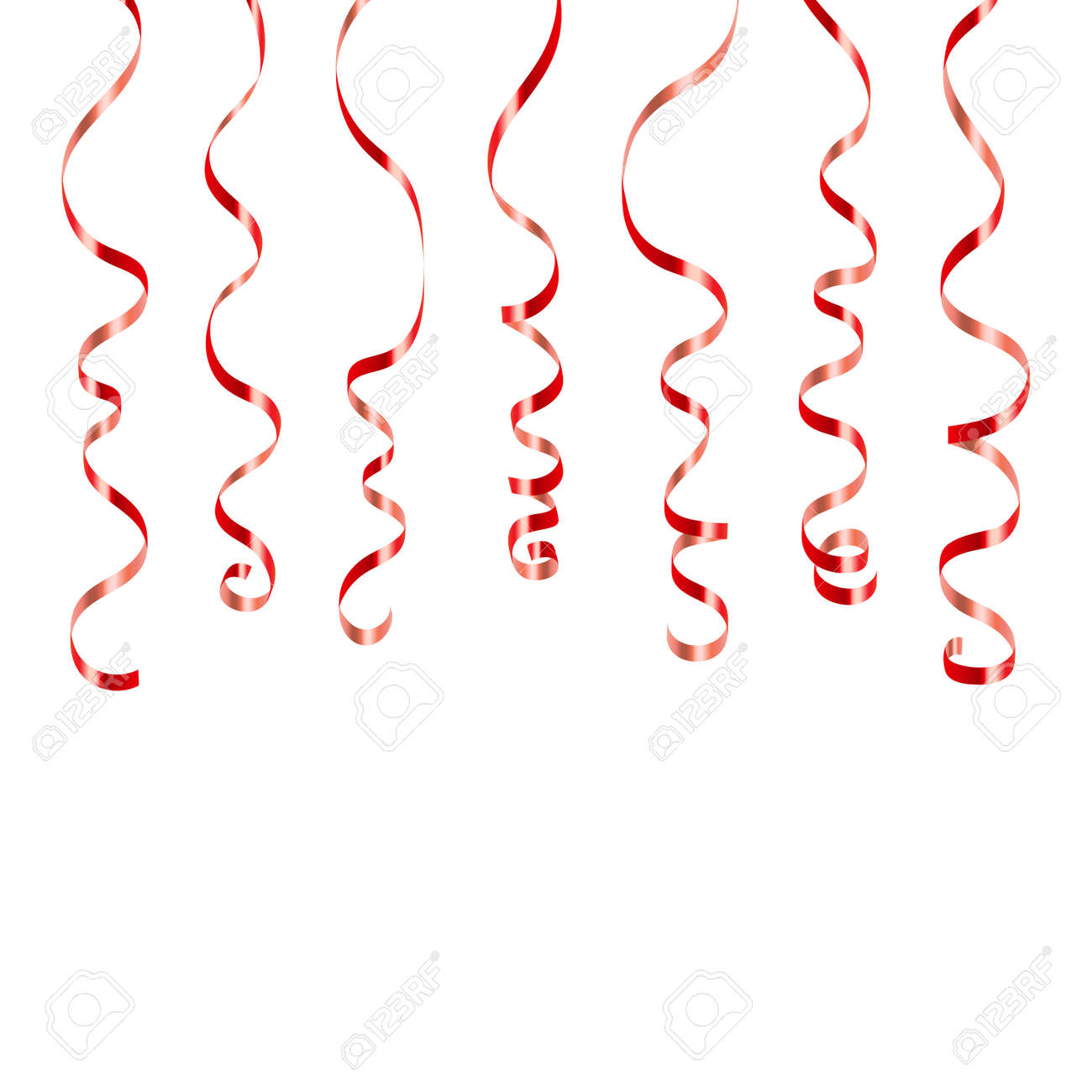new year celebration anniversary carnival vector illustration red curly ribbons serpentine on white background colorful streamers