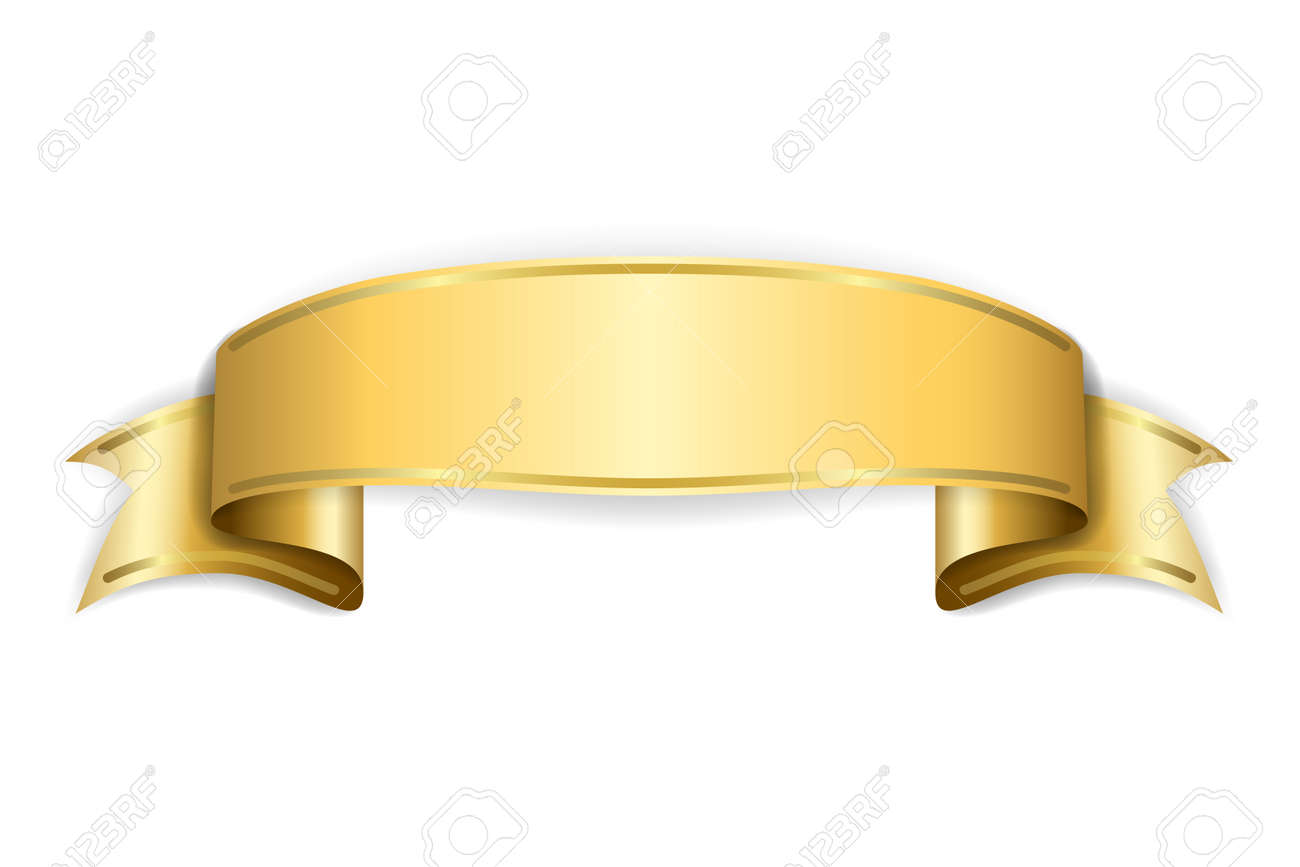 gold satin empty ribbon golden blank banner design decoration